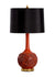 Mid Century Cinnabar Red Lamp