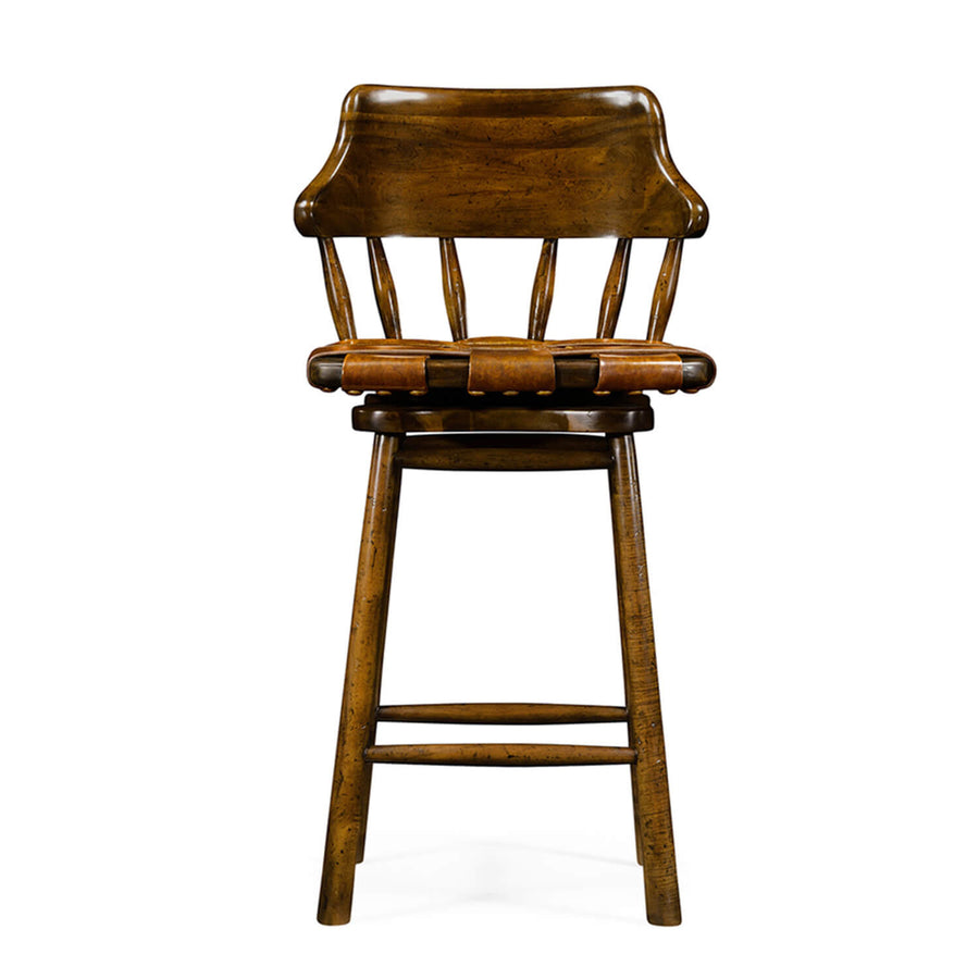 Country Walnut and Leather Bar Stool