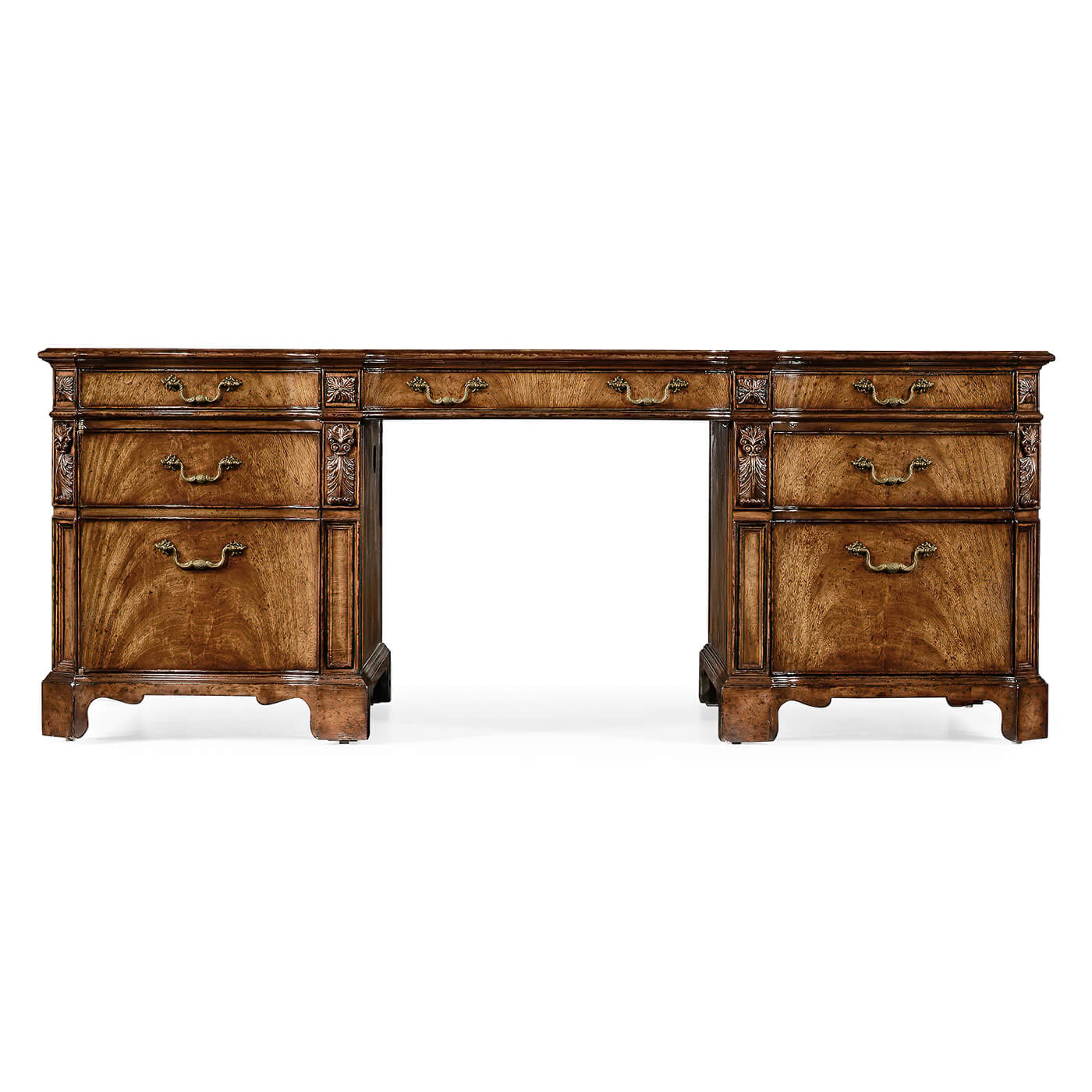 George III Walnut Pedestal Desk