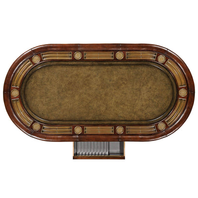 Mahogany and Leather Top Poker Table