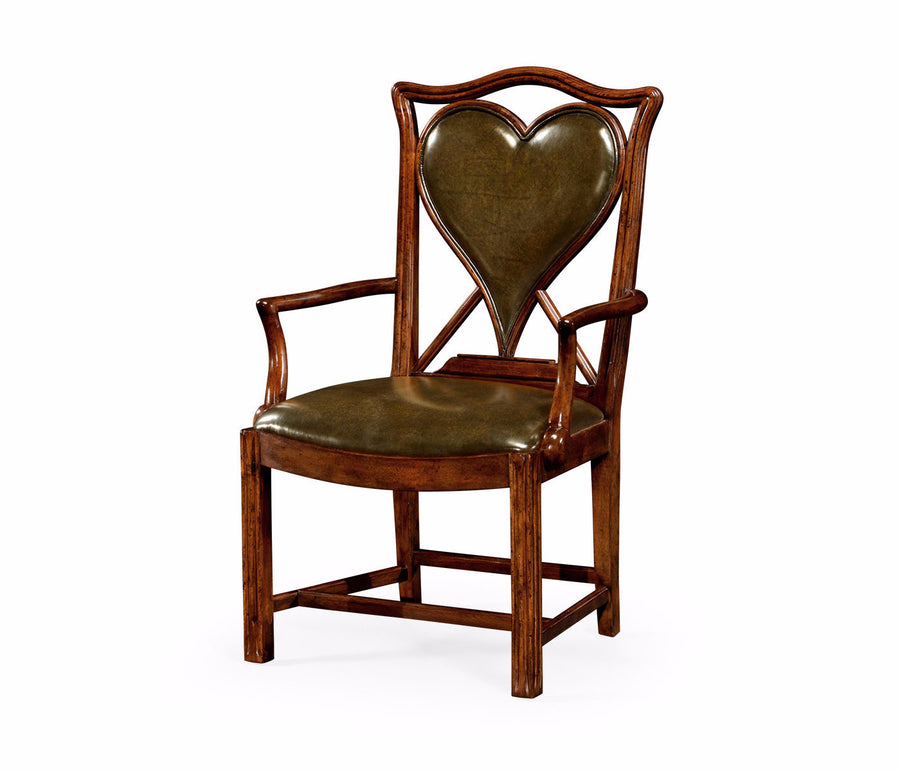 "English Walnut ""Hearts"" Armchair"