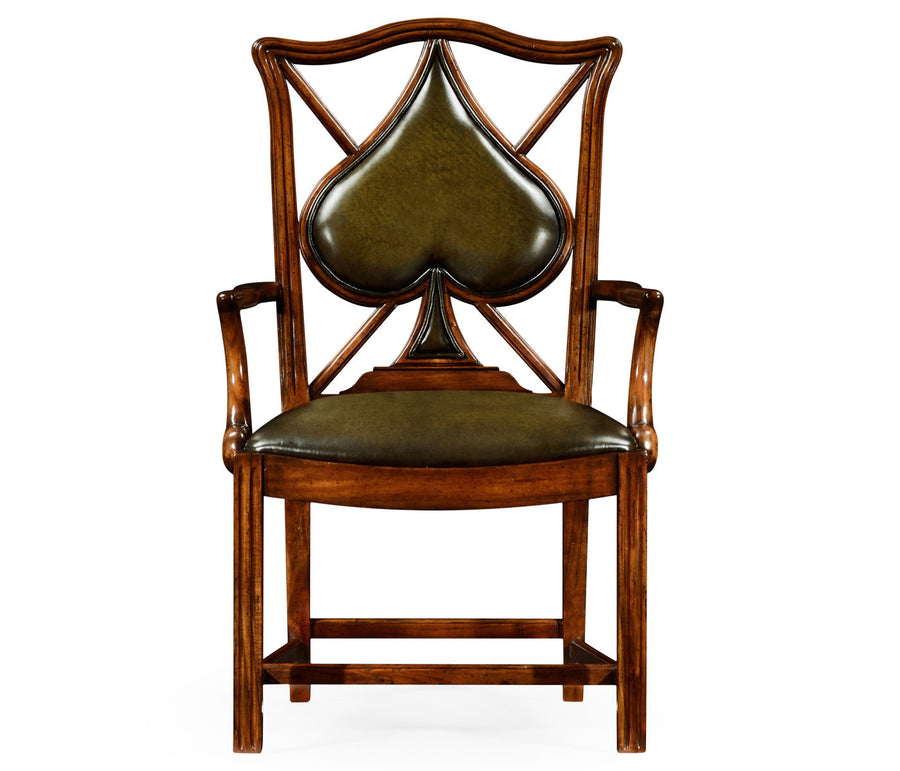 "English Walnut ""Spades"" Armchair"