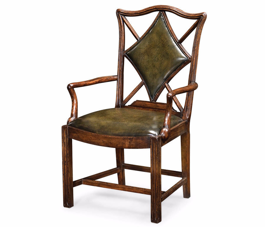 "English Walnut ""Diamonds"" Armchair"
