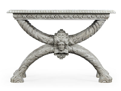 George II Style Carved Marble Top End Table