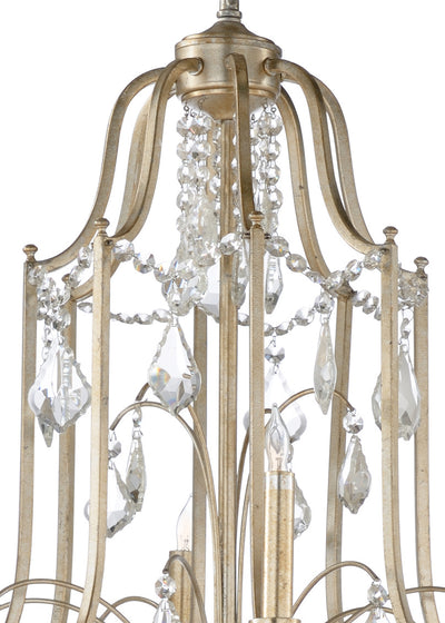 Neo Classic Silver Gilt 12 Light Chandelier