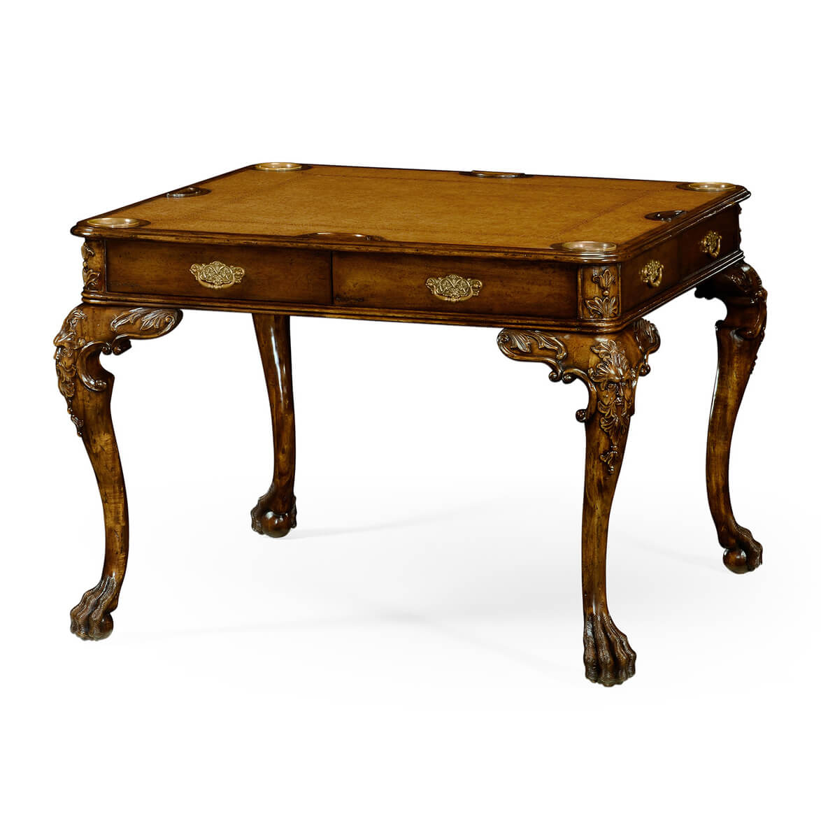 George II Walnut Leather Top Games Table