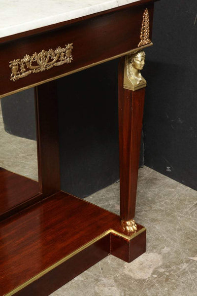 Pair of Empire Marble-Top Consoles