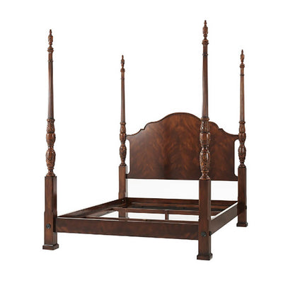 Carved Mahogany Four Post Bed - Queen