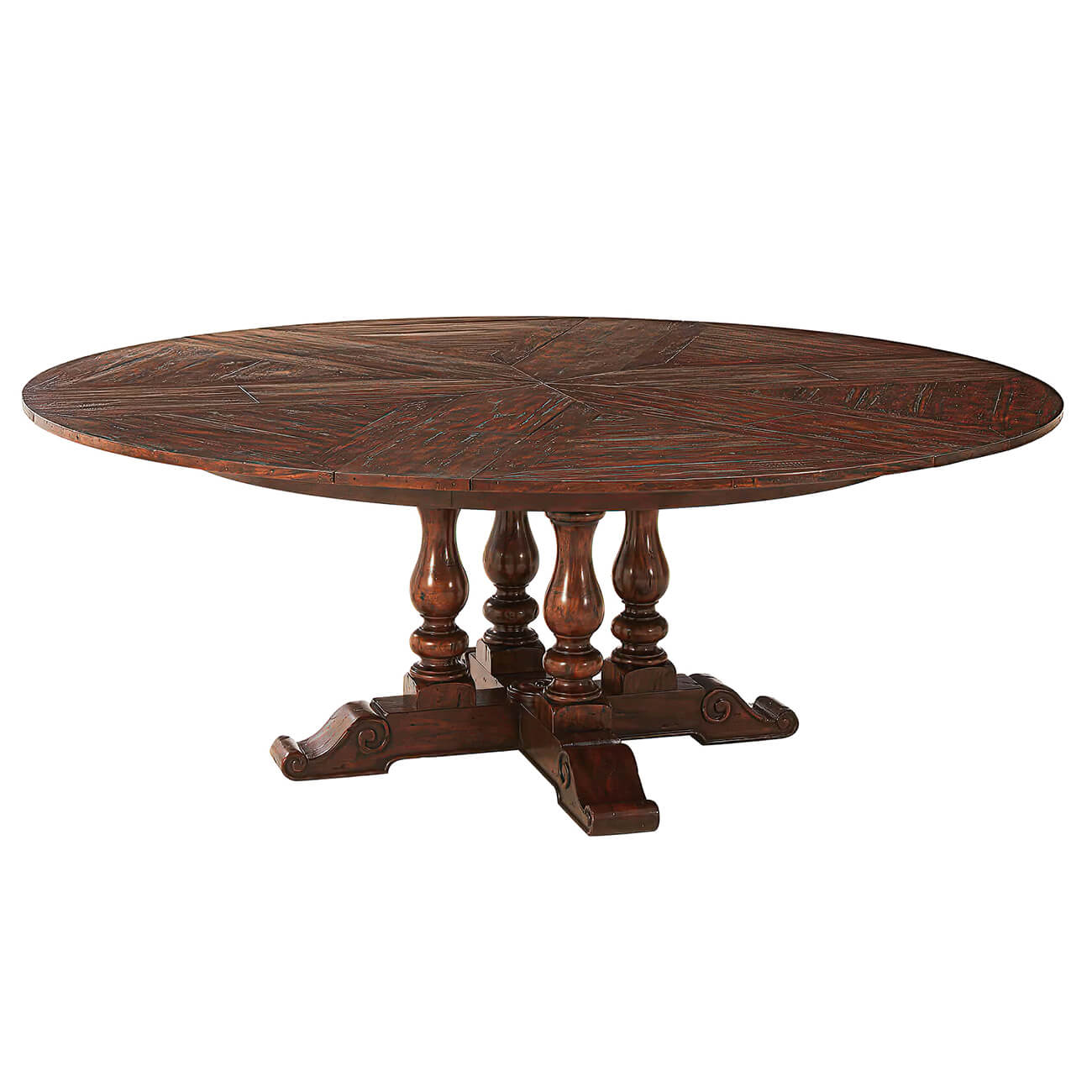 Early English Style Round Extension Dining Table 78