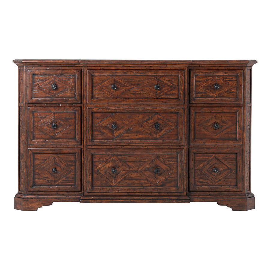 Antiqued Wood Breakfront Dresser