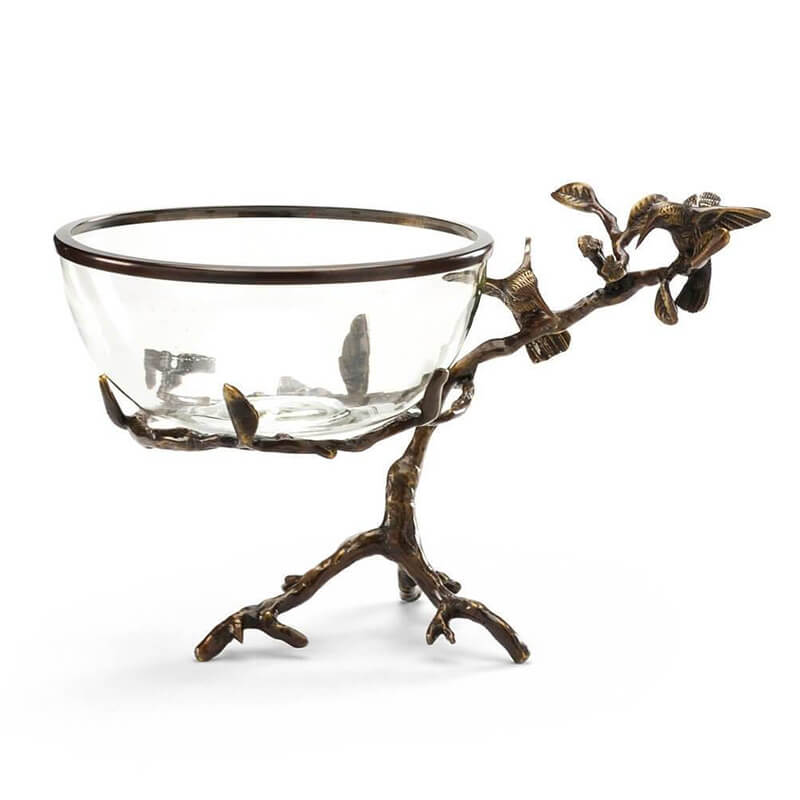 Centerpiece Crystal Bowl with Hummingbirds