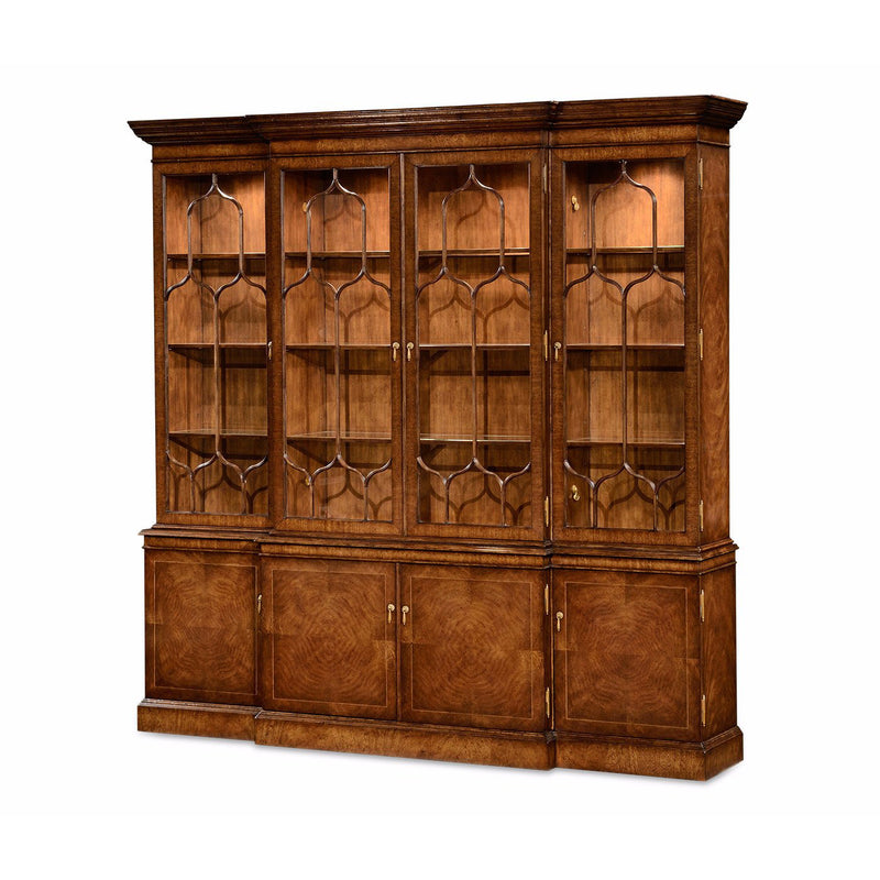 Chippendale Walnut Breakfront Bookcase