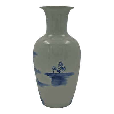 Pair of Chinese Blue and White River Vases