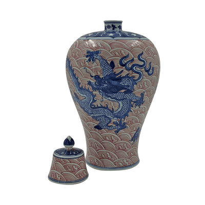 Pair of Chinese Blue Dragon Lidded Vases