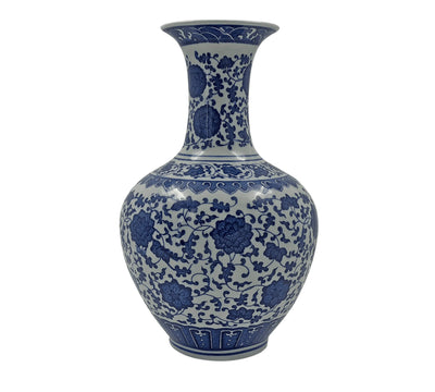 Pair of Chinese Blue and White Chrysanthemum Vase
