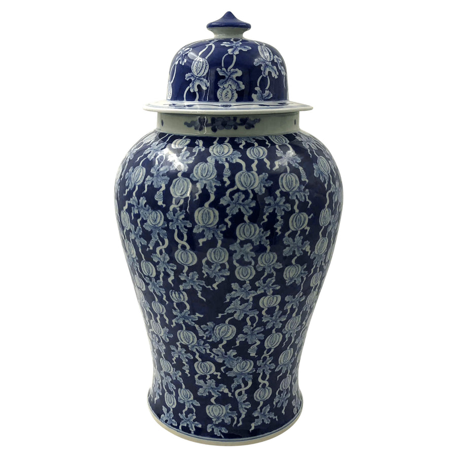 Pair of Hand Painted Blue and White Ginger Jars