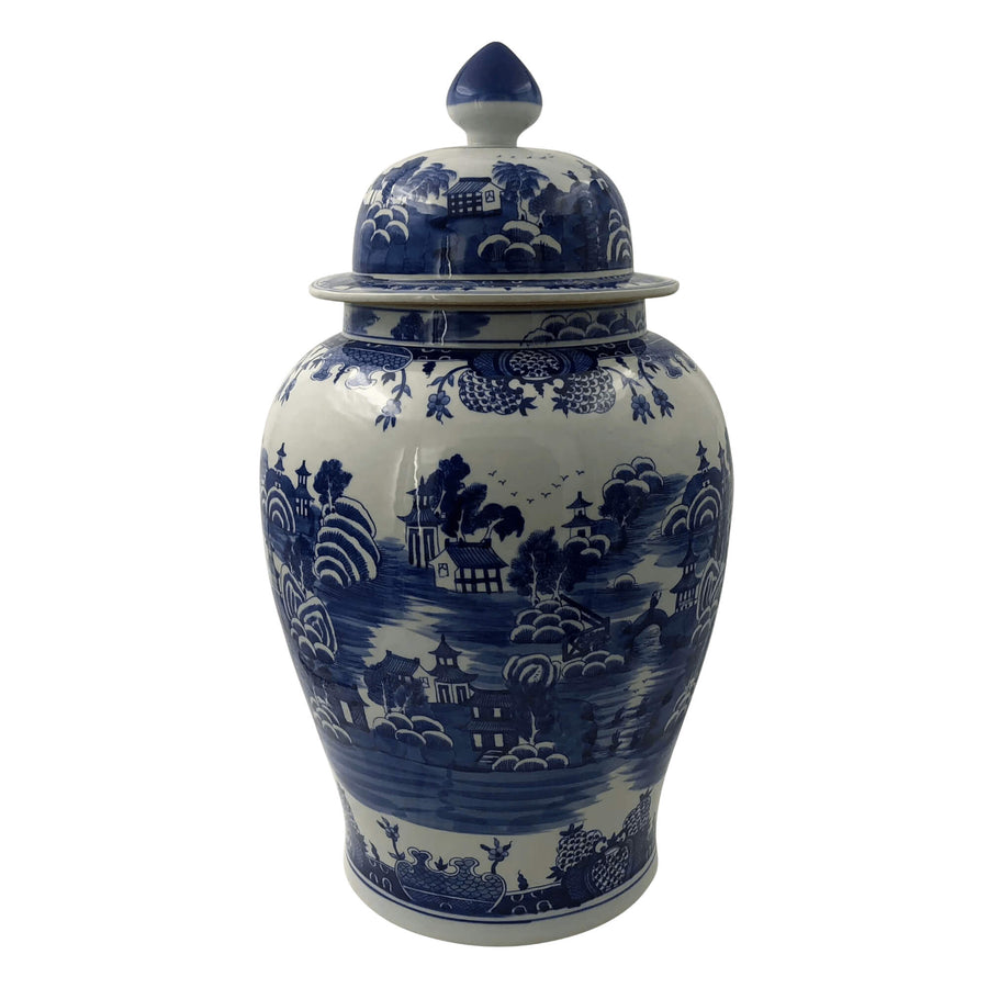 Pair of Chinese Blue and White River Scene Ginger Jars