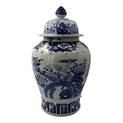 Pair of Chinese Blue and White Temple Jars