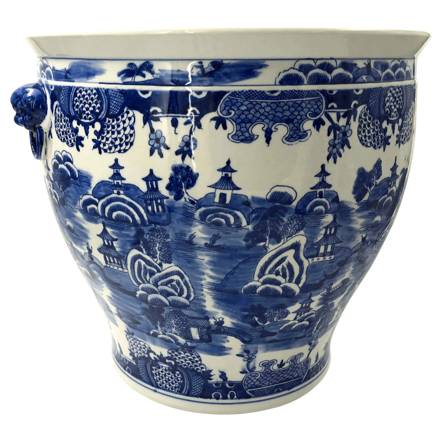 Chinese Blue and White Fishbowl Planter