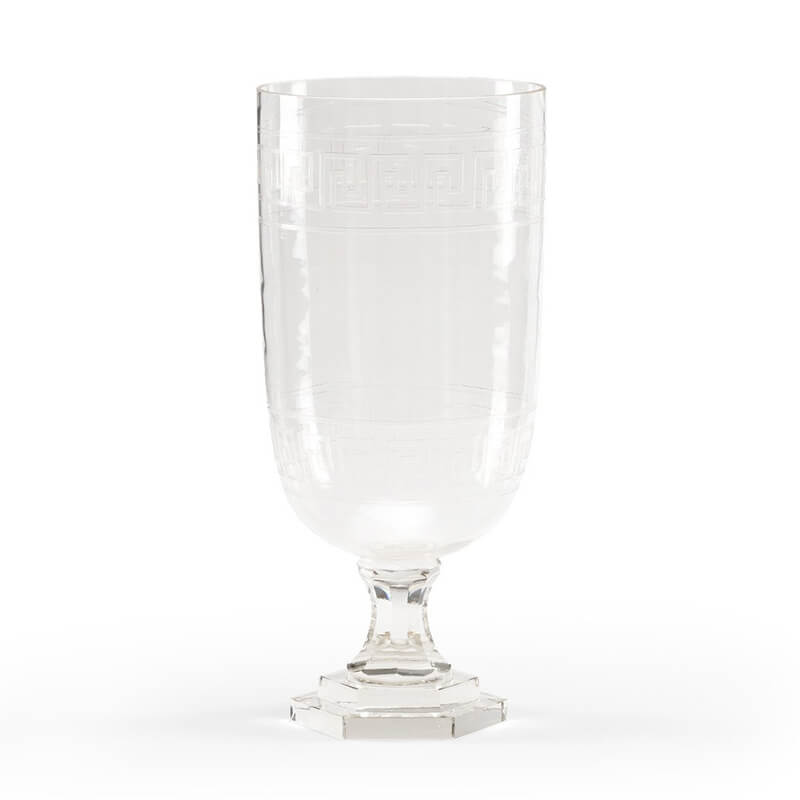 Etched Glass Greek Key Hurricane
