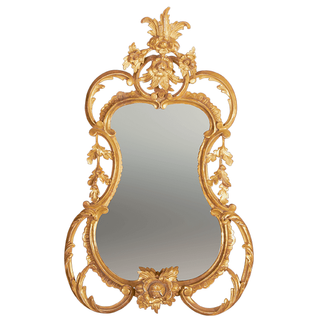 George III Mirror with Carved Flowers