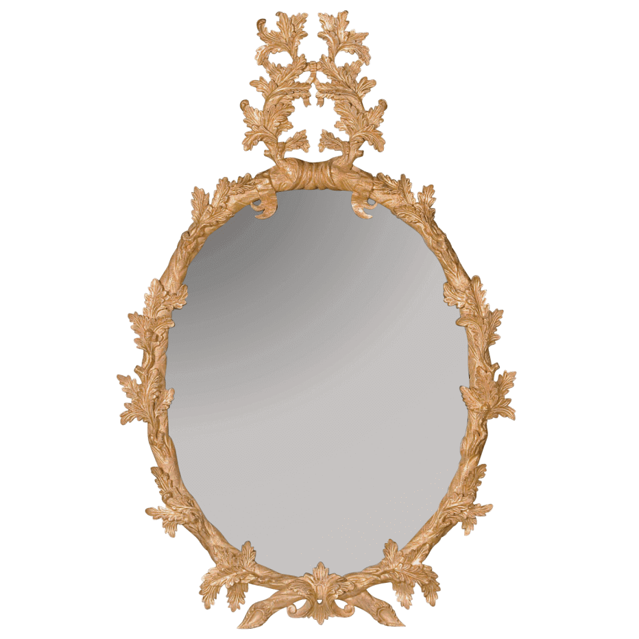 George III Oval Mirror with Carved Oakleaf