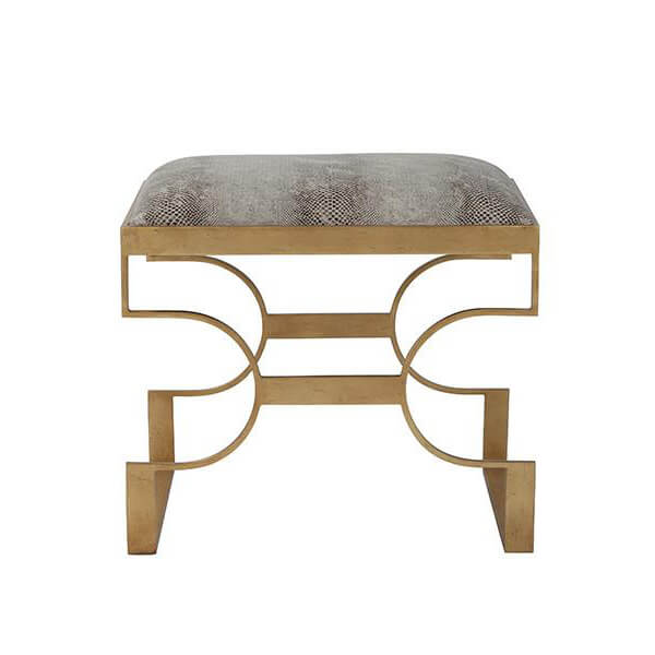 Gilt Steel Upholstered Stool