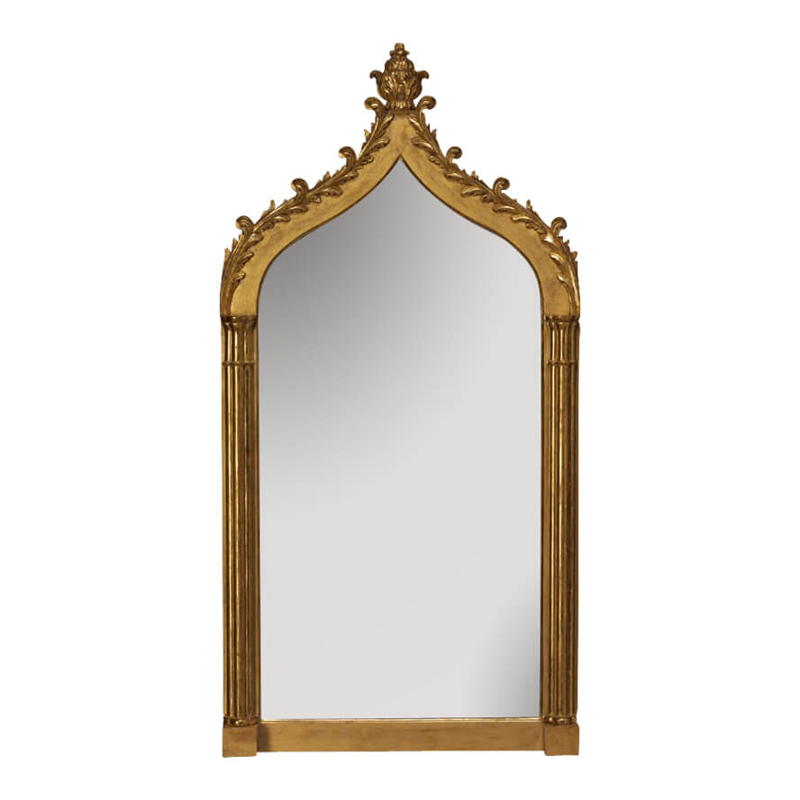Carved Giltwood Gothic Pier Mirror