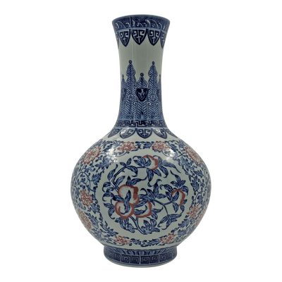 Chinese Iron Red, Blue and White Bottle Vase