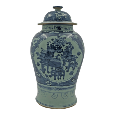 Large Chinese Still Life Temple Jar