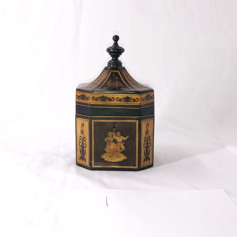 English Marquetry Tea Caddy