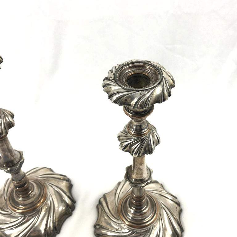 Pair of Georgian Silvered Candlesticks