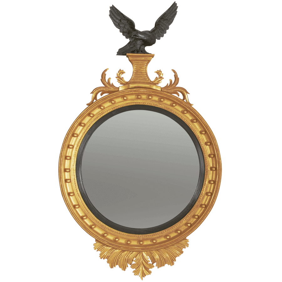 Regency Convex Mirror with Carved Eagle Surmount