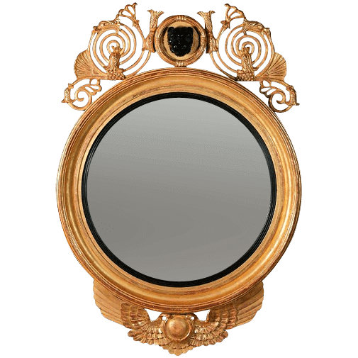 Regency Convex Mirror with Leopard Mask