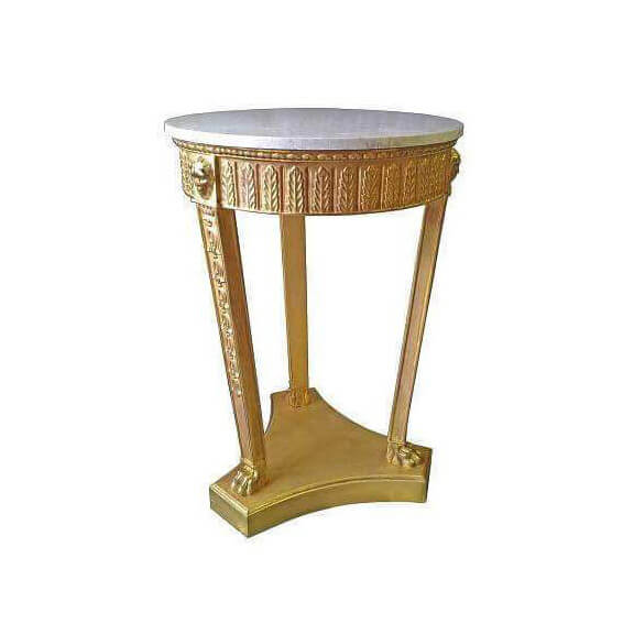 Regency Pedestal End Table with Marble Top