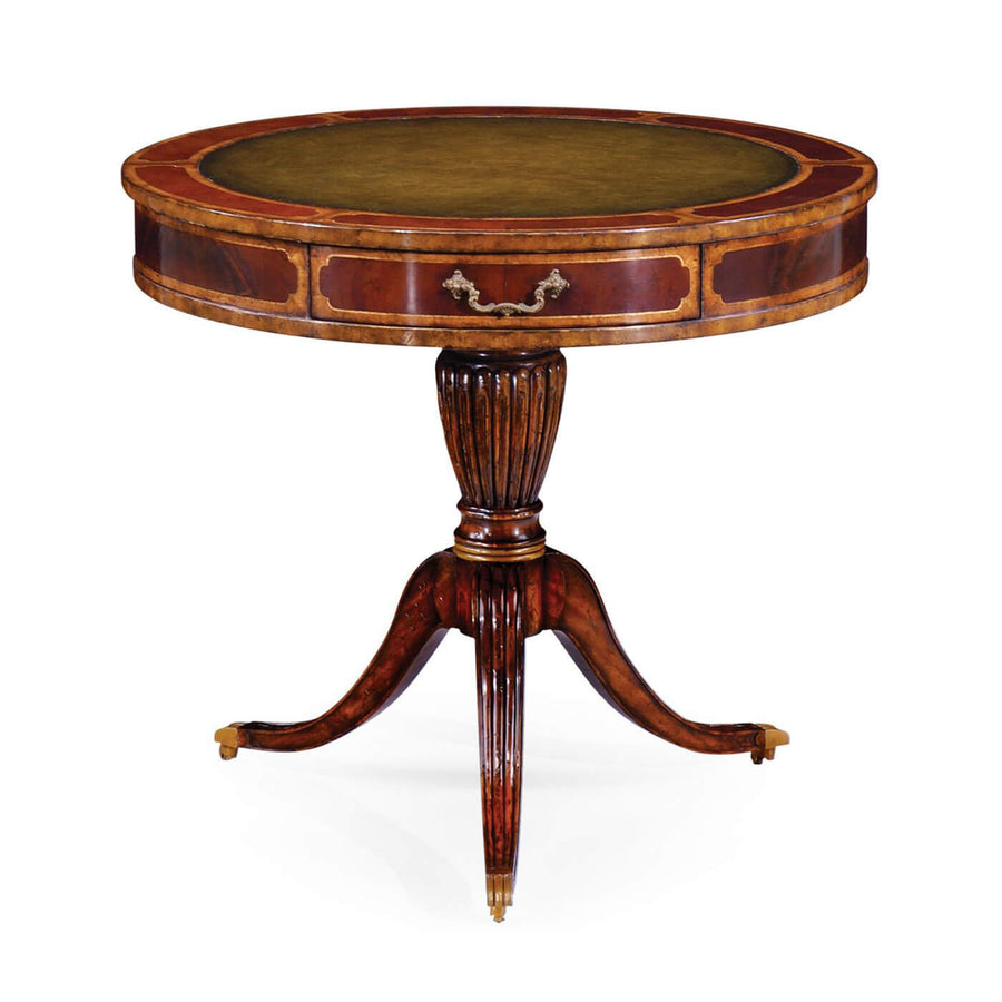 Regency Style Leather Top Drum Table