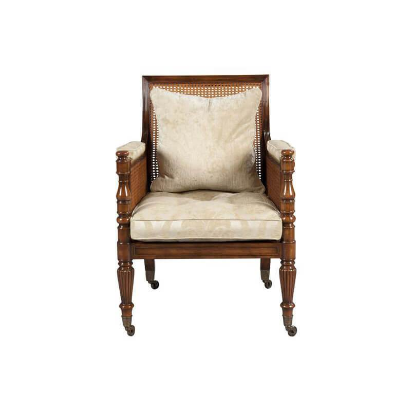 Regency Style Mahogany Caned Library Chair