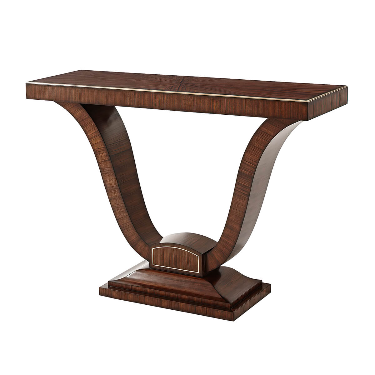Art Deco Rosewood and Brass Strung Console Table - English Georgian America