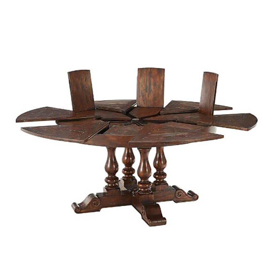 Early English Round Extension Dining Table 72