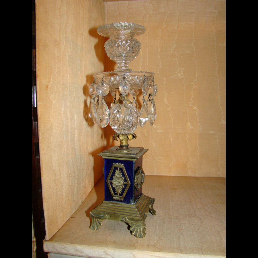 Pair of 19th century Glass and Crystal Candlesticks