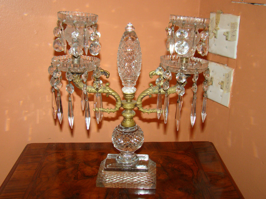 Pair of Georgian Cut Glass Candleabra