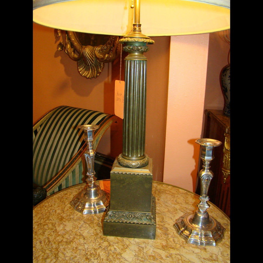Pair of Empire Column Form Lamps