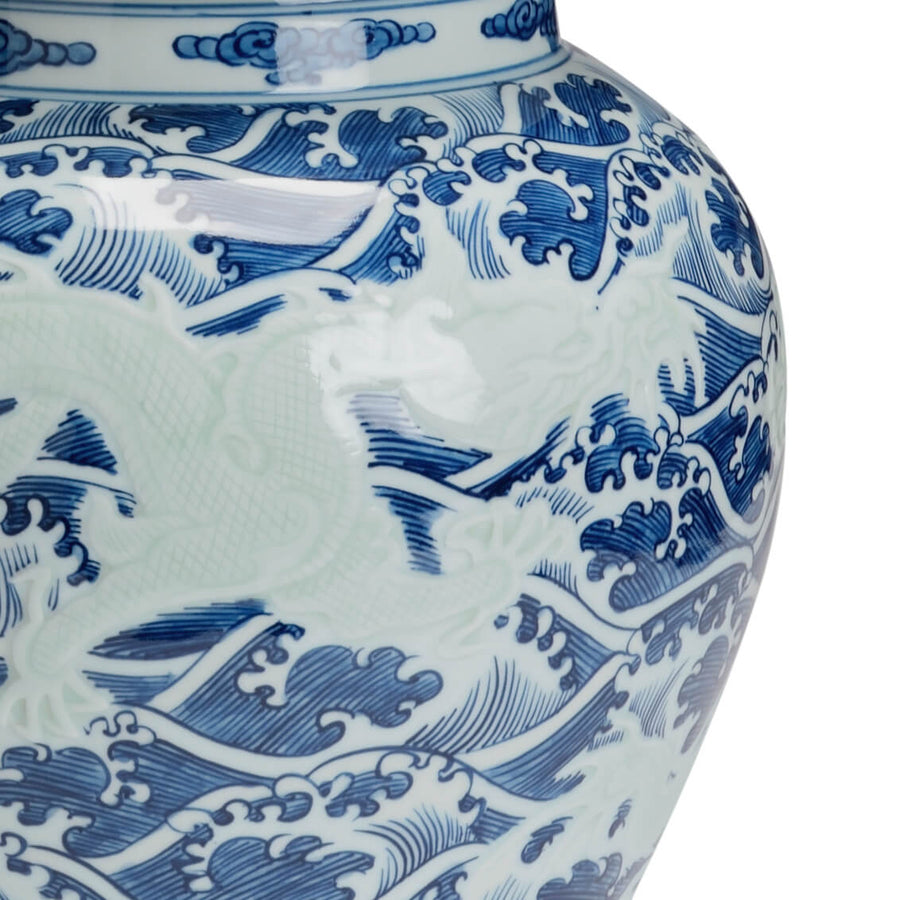Chinese Blue and White Temple Jar