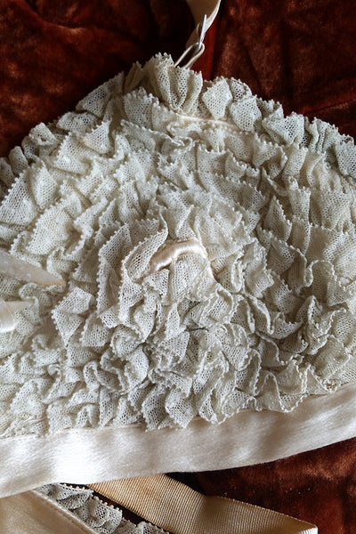 20s Vintage Mildred Miller Couture Ruffled Lace Silk Satin Bra