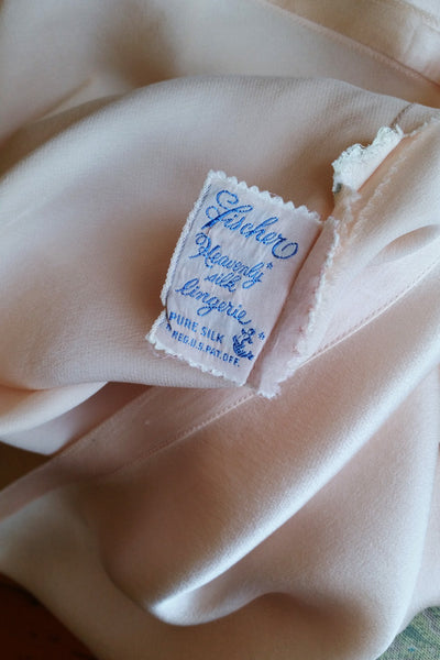 40s Vintage Fischer Heavenly Silk Satin Bias Tailored Half Slip