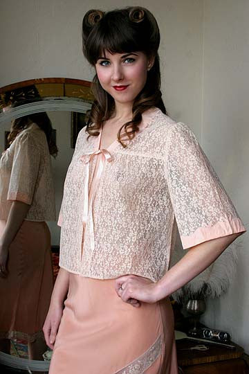 40s Vintage Silk Applique Hand Made Lace Bed Jacket