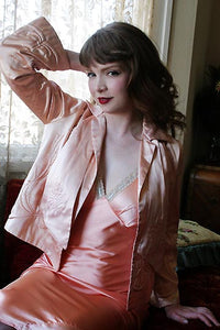 30s Vintage Marshall Field Couture Trapunto Satin Bed Jacket