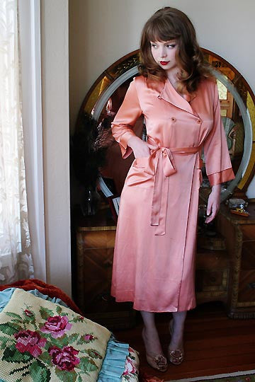 30s Vintage Barbizon Morningside Silk Satin Dasche Robe