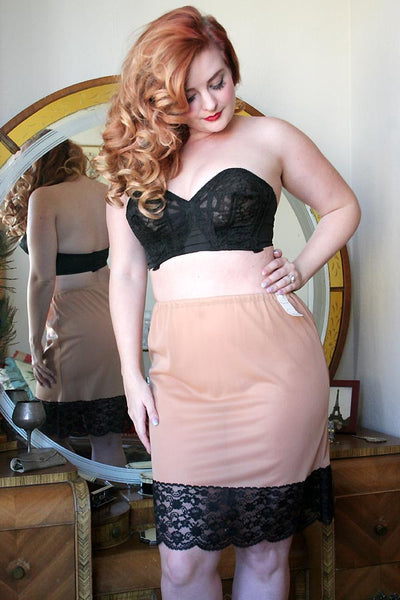 60s Vintage Permalift Mocha and Black Lace Half Slip