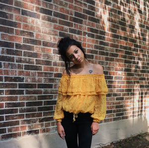 "Eyelet Lace ""Off the Shoulder"" Top"
